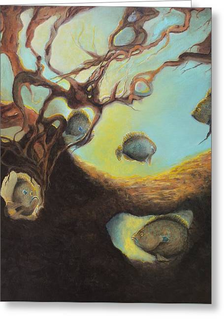 Tree Roots Paintings Greeting Cards - Sunfish in Tree Roots Greeting Card by Kimberly Benedict