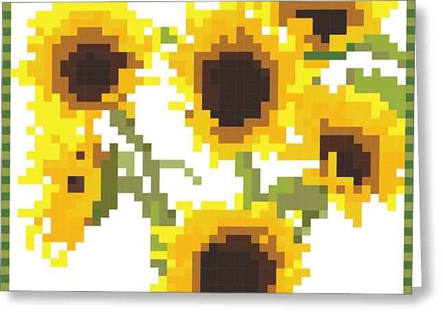 Yellow Sunflower Tapestries - Textiles Greeting Cards - Sunflora Greeting Card by Ala Lockhart