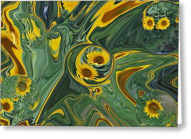 Sunflower Abstract Greeting Card by Michelle  BarlondSmith