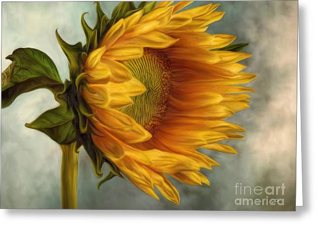 Floral Digital Art Greeting Cards - Sunflower Greeting Card by AnaCB Studio