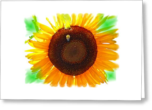 Transparent Fabric Greeting Cards - Sunflower and Bumble Bee Transparent Photo-painting Greeting Card by Shelly Weingart