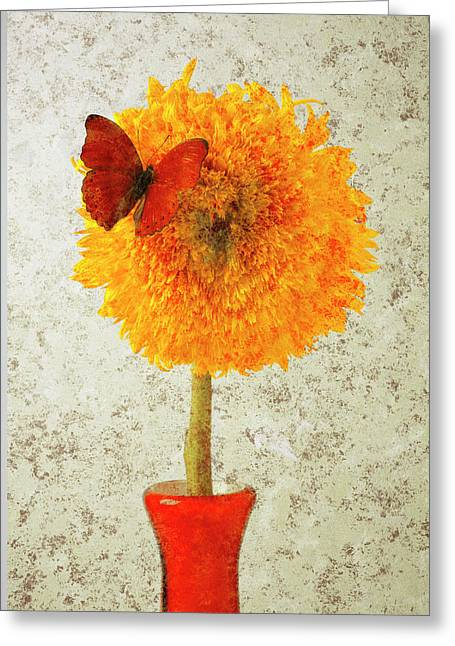 Vibrant Greeting Cards - Sunflower and red butterfly Greeting Card by Garry Gay