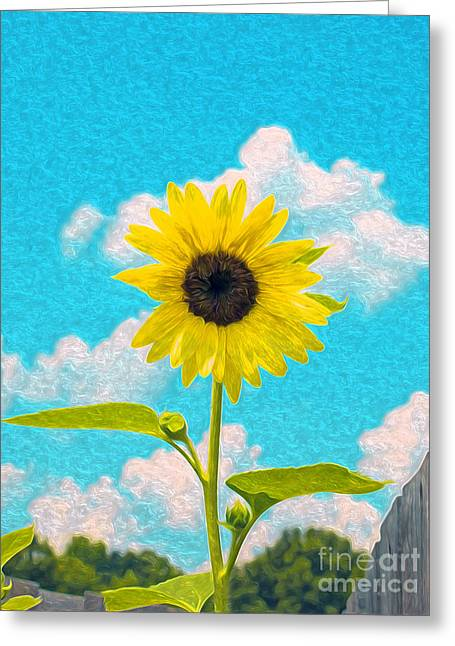 Yellow Sunflower Greeting Cards - Sunflower Art Greeting Card by Candy Frangella
