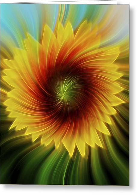Floral Digital Art Greeting Cards - Sunflower Beams Greeting Card by Terry DeLuco