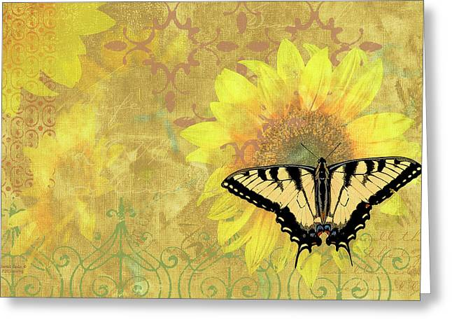 Song Bird Greeting Cards - Sunflower Butterfly Yellow Gold Greeting Card by JQ Licensing