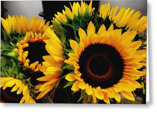 Abstract Digital Pastels Greeting Cards - Sunflower Cheer Up H b Greeting Card by Gert J Rheeders