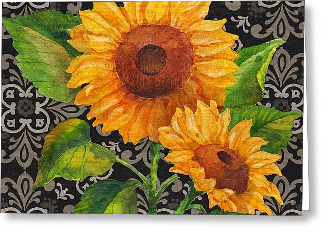 Chic Greeting Cards - Sunflower Chic I Greeting Card by Paul Brent
