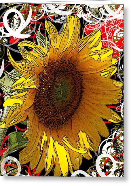 Tasteful Mixed Media Greeting Cards - Sunflower Dreaming Greeting Card by Teresa Henry