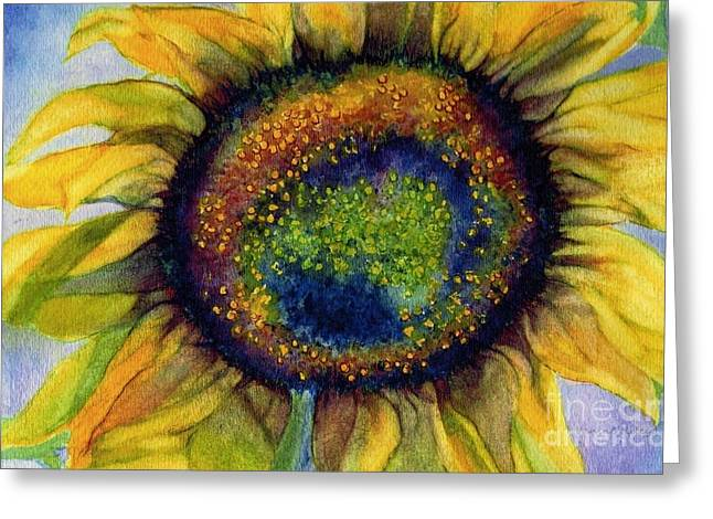 Emergence Greeting Cards - Sunflower  Emergence Greeting Card by Janine Riley