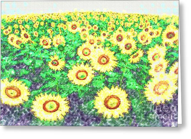 Sunflowers Pastels Greeting Cards - Sunflower Field Greeting Card by Deborah MacQuarrie