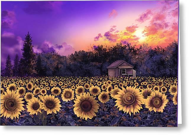 Garden Scene Digital Greeting Cards - Sunflower Field Purple Greeting Card by MB Art factory