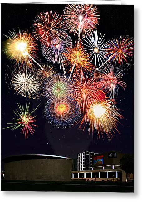 Fireworks Drawings Greeting Cards - Sunflower Fireworks at the Van Gogh Museum Greeting Card by Jose A Gonzalez Jr