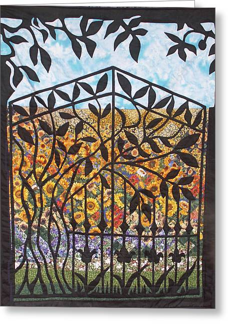 Sunflower Garden Gate Greeting Card by Sarah Hornsby