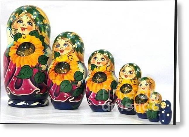 Freed Sculptures Greeting Cards - Sunflower Girl Greeting Card by Viktoriya Sirris