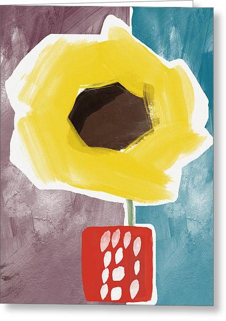 Sunflower In A Small Vase- Art By Linda Woods Greeting Card by Linda Woods