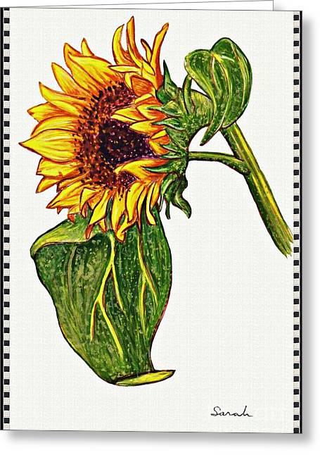 Sunflower In Gouache Greeting Card by Sarah Loft