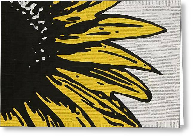 Pop Mixed Media Greeting Cards - Sunflower Greeting Card by Jen Gabriele