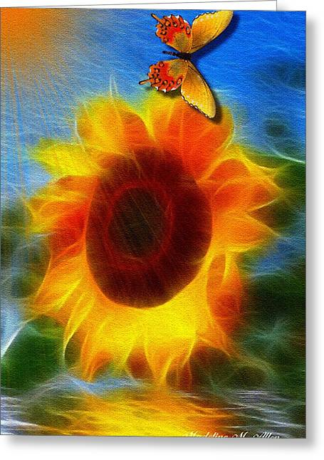 Smudgeart Greeting Cards - Sunflower Greeting Card by Madeline  Allen - SmudgeArt