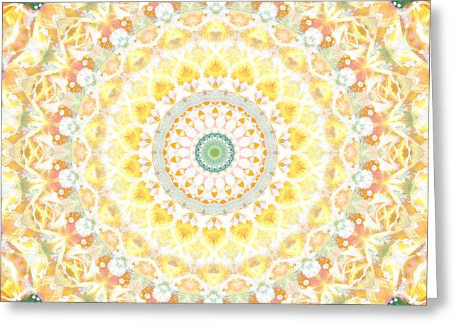 Yellow Sunflower Greeting Cards - Sunflower Mandala- Abstract Art by Linda Woods Greeting Card by Linda Woods