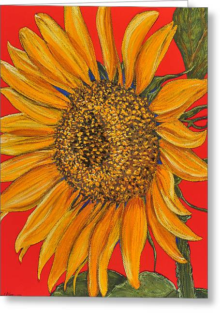 Adam Pastels Greeting Cards - DA153 Sunflower on Red by Daniel Adams Greeting Card by Daniel  Adams