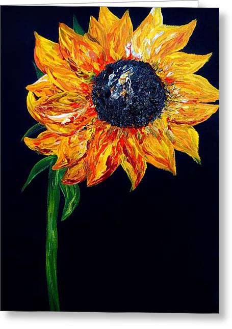 Whimsy Greeting Cards - Sunflower Outburst Greeting Card by Eloise Schneider