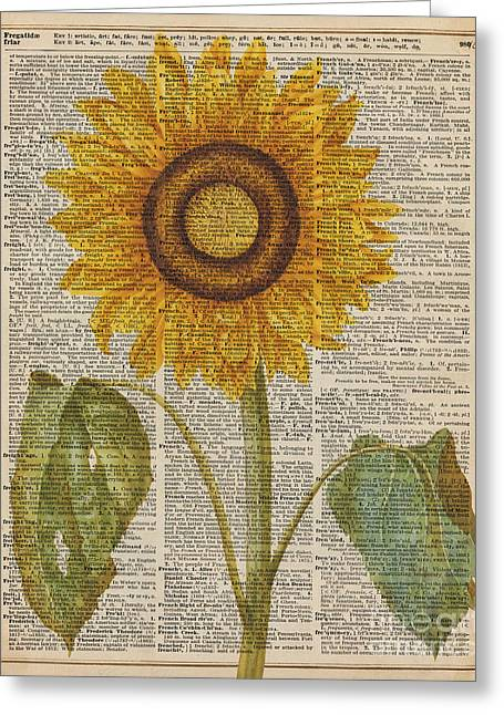 Kitchen Wall Drawings Greeting Cards - Sunflower over dictionary page Greeting Card by Jacob Kuch