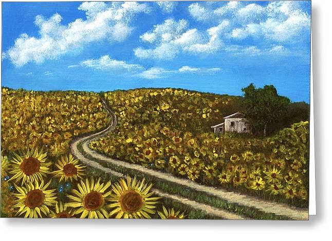 Sunflower Road Greeting Card by Anastasiya Malakhova
