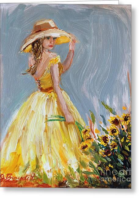 Yellow Sunflower Greeting Cards - Sunflower Seduction Greeting Card by Jennifer Beaudet