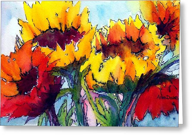 Sunflower Serenade Greeting Card by Anne Duke
