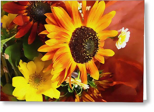 Flower Still Life Prints Greeting Cards - Sunflower Strong Greeting Card by Kathy Bassett