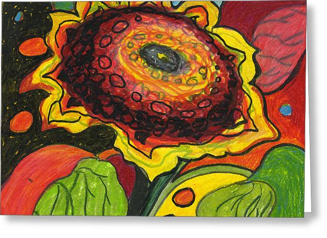 Red Abstracts Drawings Greeting Cards - Sunflower Surprise Greeting Card by Jennifer Lommers