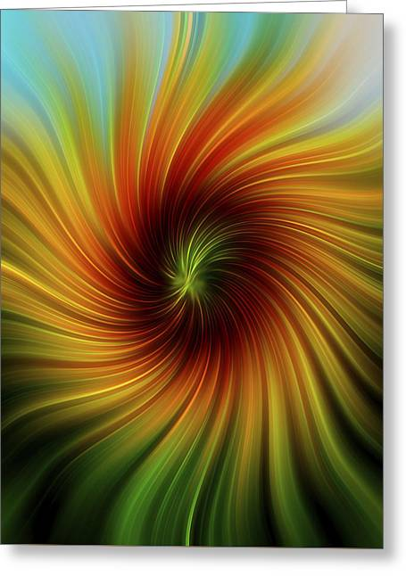 Floral Digital Art Digital Art Greeting Cards - Sunflower Swirl Greeting Card by Terry DeLuco