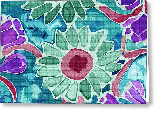 Teal Tapestries - Textiles Greeting Cards - Sunflower Teal Greeting Card by FabricWorks Studio