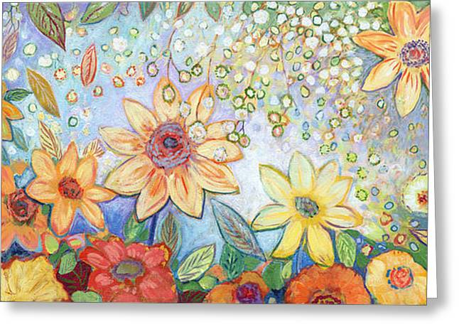 Abstract Sunflower Greeting Cards - Sunflower Tropics Greeting Card by Jennifer Lommers