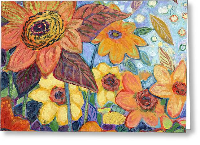 Purple Garden Greeting Cards - Sunflower Tropics Part 1 Greeting Card by Jennifer Lommers