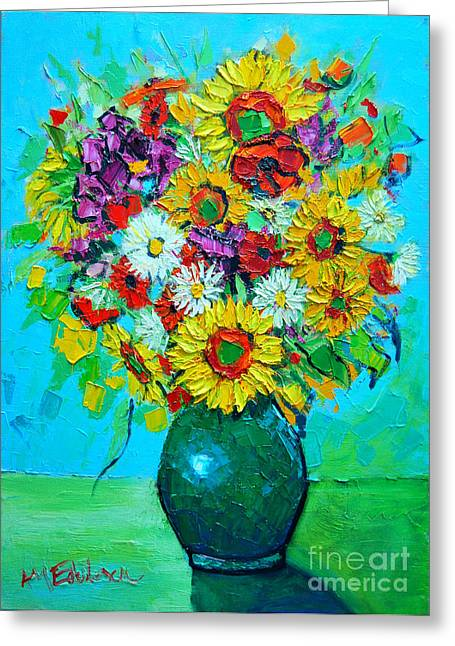 Interior Still Life Greeting Cards - Sunflowers And Daises Greeting Card by Ana Maria Edulescu