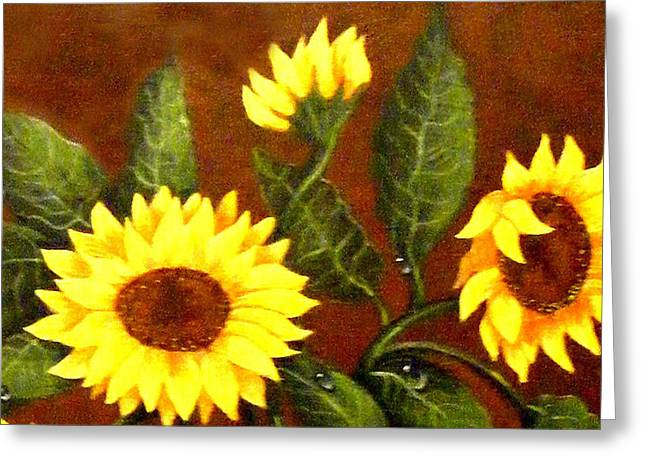 Dewdrops Paintings Greeting Cards - Sunflowers and Dewdrops Greeting Card by Barbara Griffin