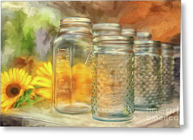 Sunflowers And Jars Greeting Card by Lois Bryan