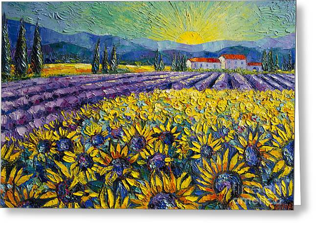 White Paintings Greeting Cards - Sunflowers And Lavender Field - The Colors Of Provence Greeting Card by Mona Edulesco