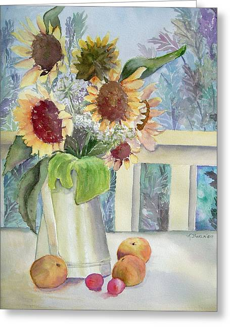 Sunflowers And Peaches Greeting Card by Katherine  Berlin