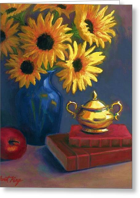 Janet King Paintings Greeting Cards - Sunflowers and Sugar Bowl Greeting Card by Janet King