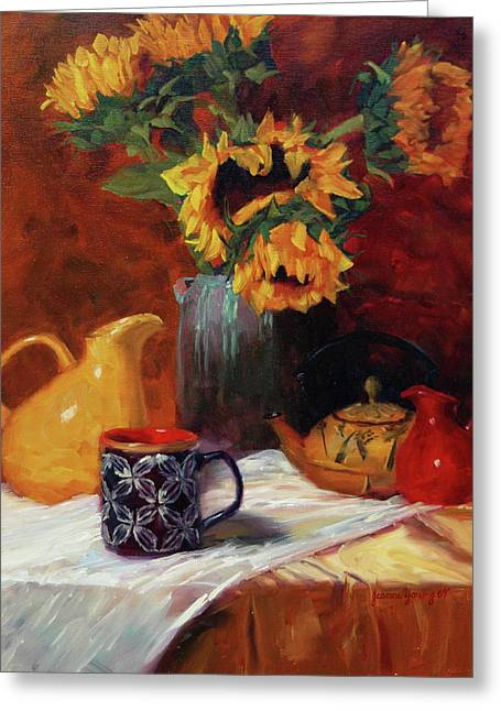 Sunflowers And Undersea Vase Greeting Card by Jeanne Young
