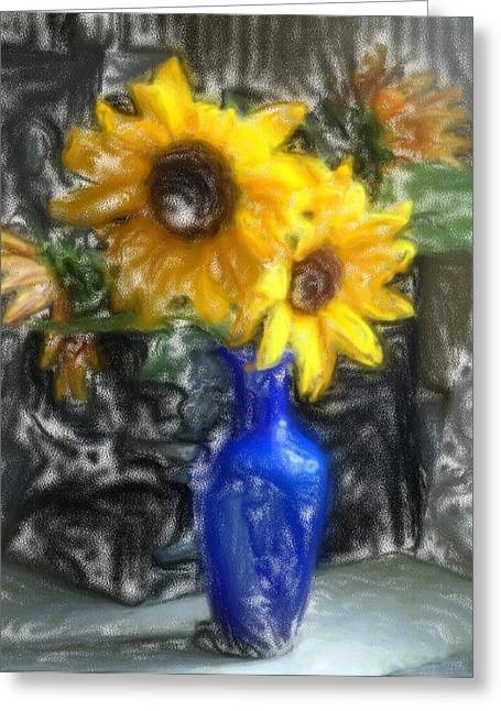 Vivid Colour Mixed Media Greeting Cards - Sunflowers Greeting Card by Andreas Konstantinidis