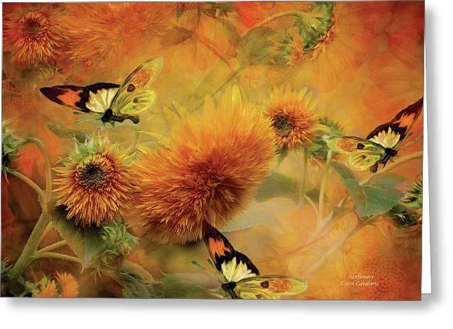 Sunflower Art Greeting Cards - Sunflowers Greeting Card by Carol Cavalaris