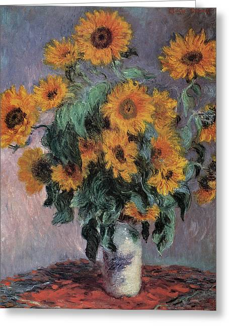 Flower Still Life Greeting Cards - Sunflowers Greeting Card by Claude Monet