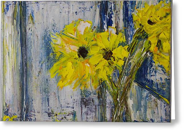 Van Gogh Style Greeting Cards - Sunflowers For Brad Greeting Card by Dan Castle