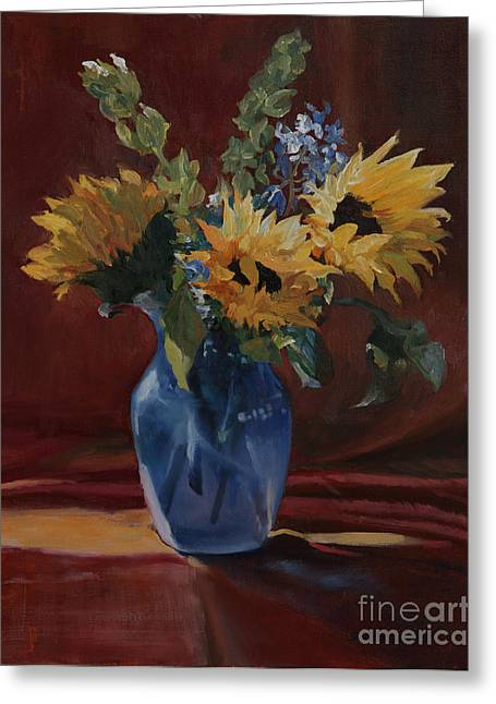 Glass Vase Greeting Cards - Sunflowers for Susan Greeting Card by Sandra Quintus