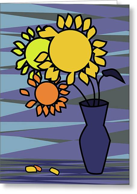 Horizontal Greeting Cards - Sunflowers in a vase Greeting Card by Mihaela Pater