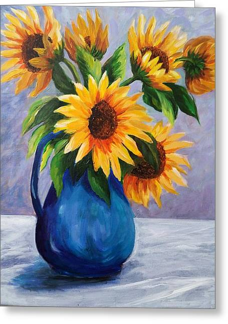 White Cloth Greeting Cards - Sunflowers in Bloom Greeting Card by Rosie Sherman