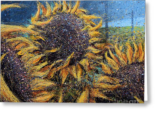 Sunflowers In Field Greeting Card by Michael Glass